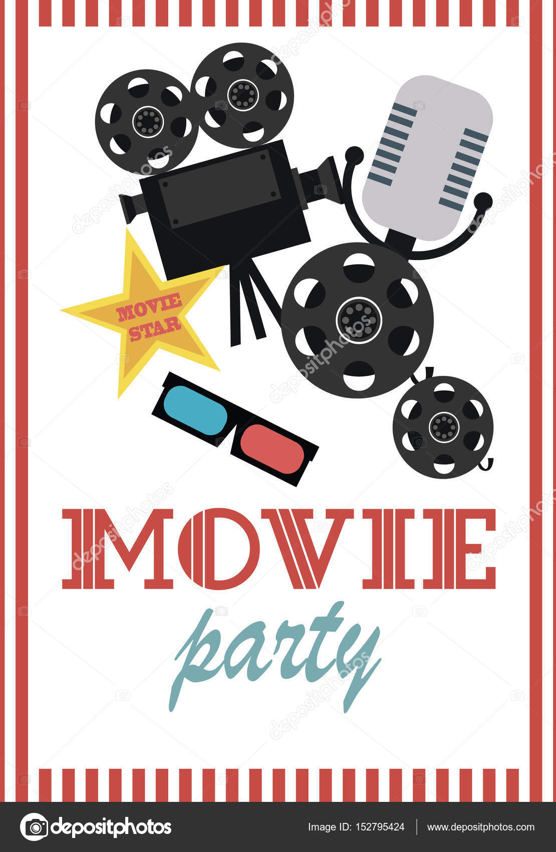 Movie birthday party invitation card stock vector vissay 152795424 movie birthday party invitation card stock vector stopboris Image collections