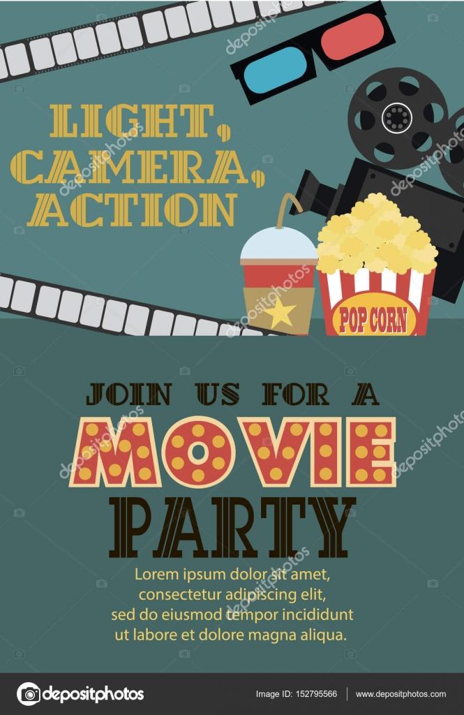 Film-Geburtstag-Party-Einladung-Karte — Stockvektor © Vissay #152795566