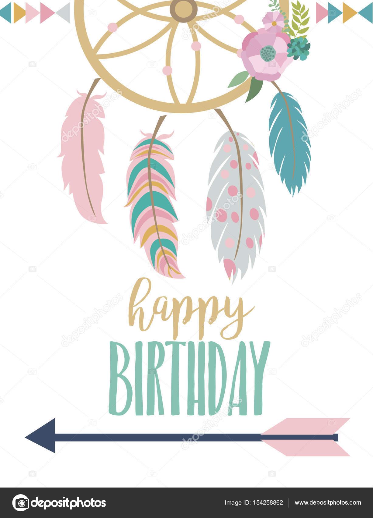 Happy birthday card template in boho style — Stock Vector © Vissay ...