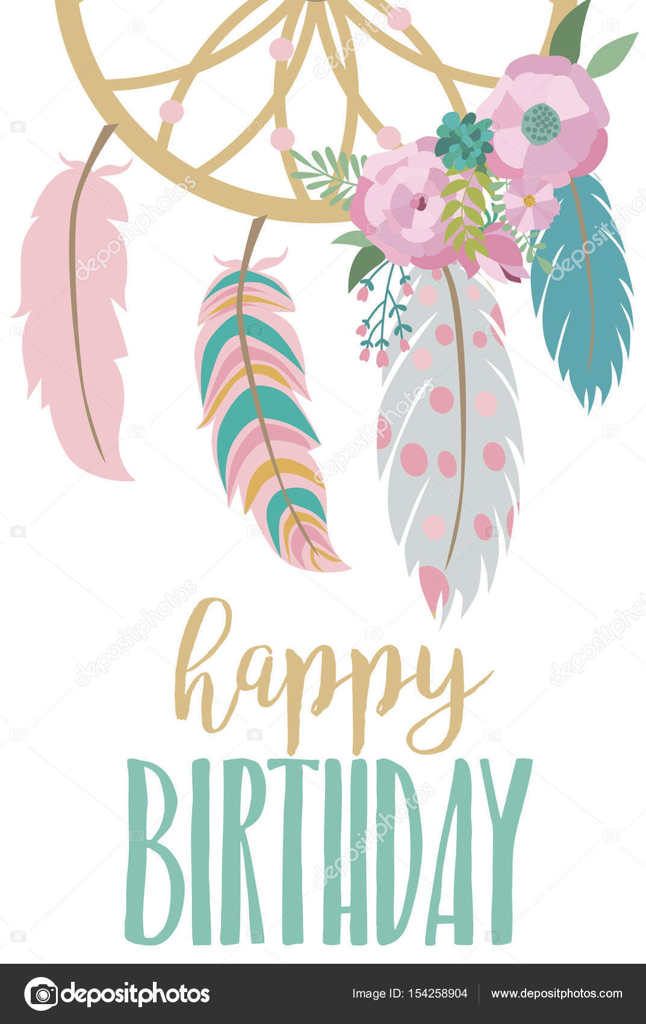 Happy Birthday Card Template In Boho Style Stock Vector Vissay
