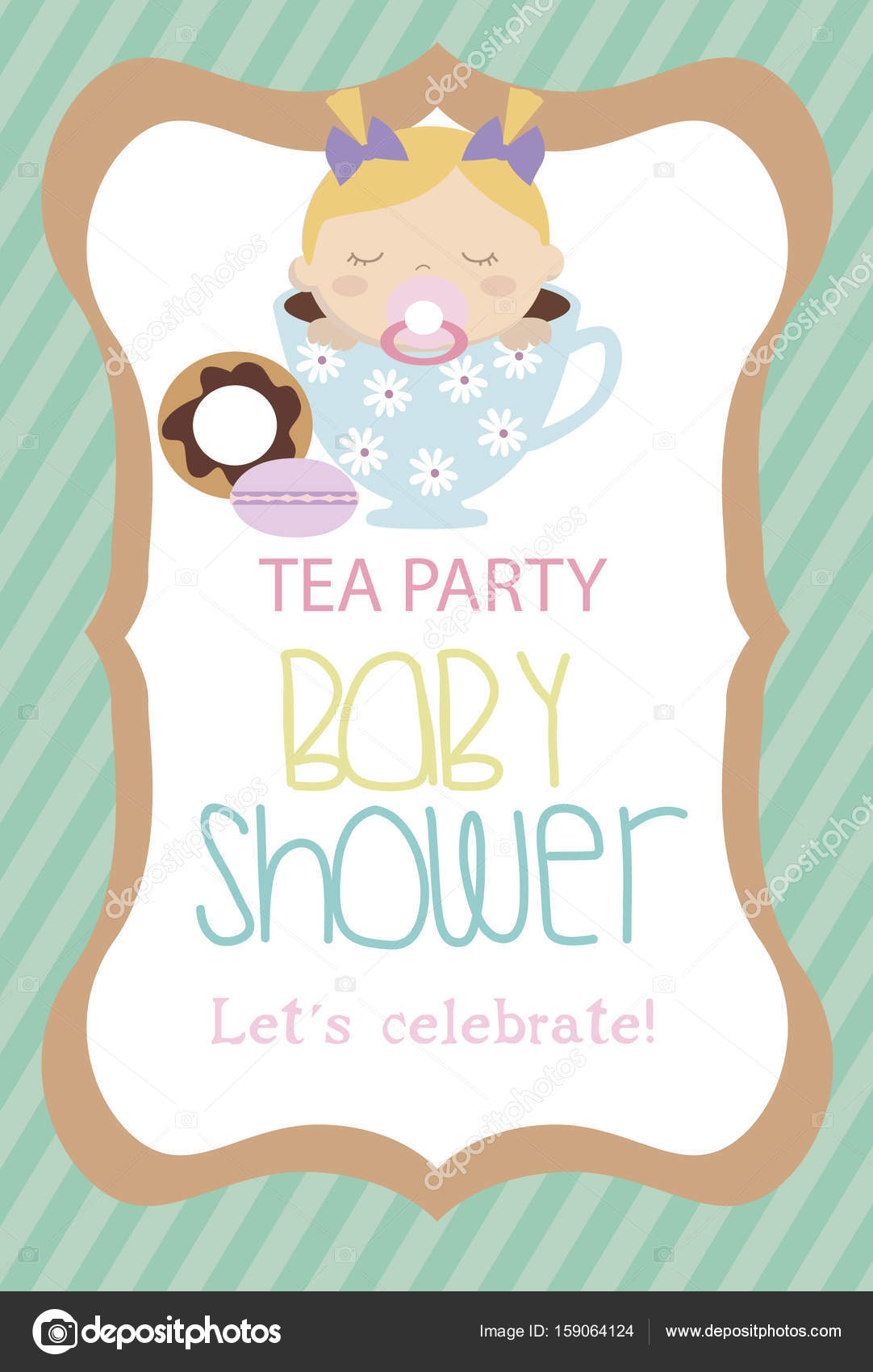 Invitation card for Baby Shower Tea party — Stock Vector © Vissay ...