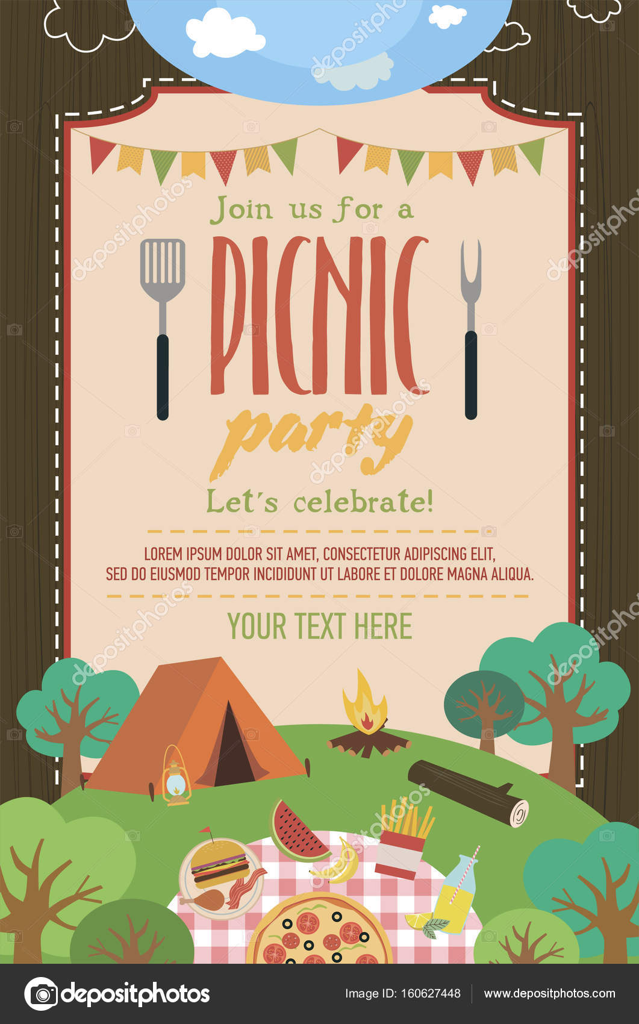 Sommer-Picknick-Party-Einladung-Karte — Stockvektor © Vissay #160627448