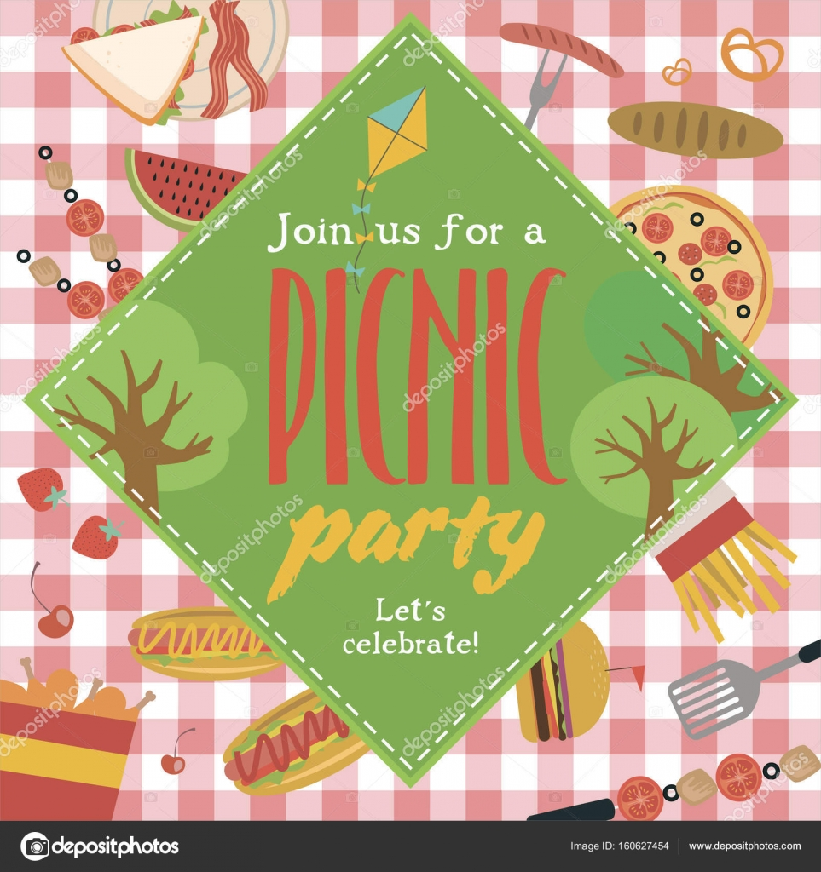 Summer picnic party invitation card stock vector vissay 160627454 summer picnic party invitation card stock vector stopboris Images