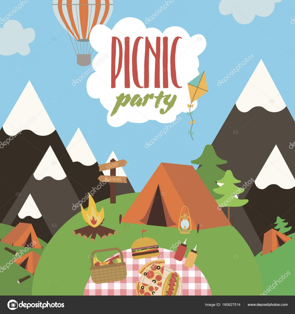 Summer picnic party invitation card stock vector vissay 160627514 summer picnic party invitation card stock vector stopboris Choice Image