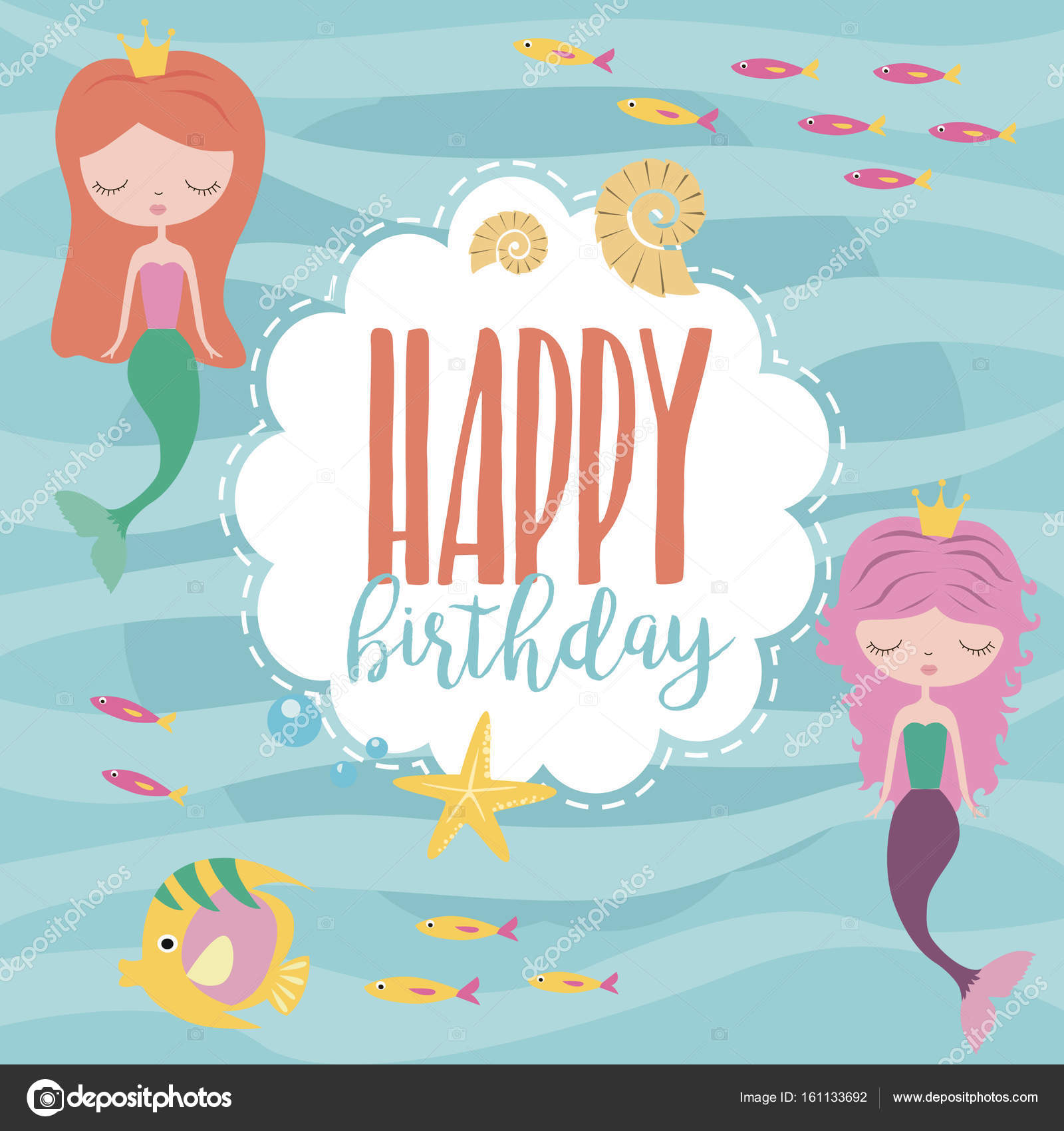 Happy birthday card with mermaid and sea life stock vector happy birthday invitation for party or greeting card with mermaid and sea life vector illustration vector by vissay stopboris Gallery