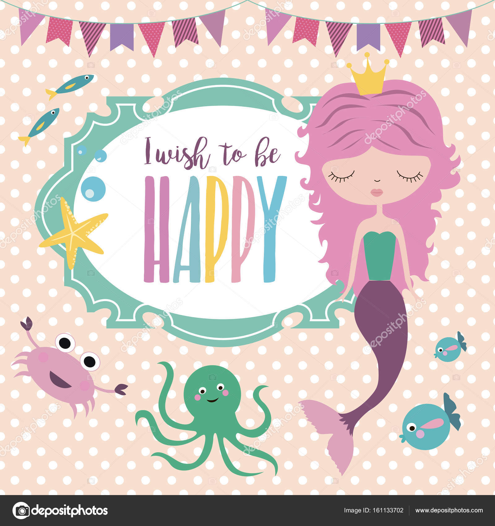 Happy birthday card with mermaid and sea life stock vector happy birthday invitation for party or greeting card with mermaid and sea life vector illustration vector by vissay stopboris