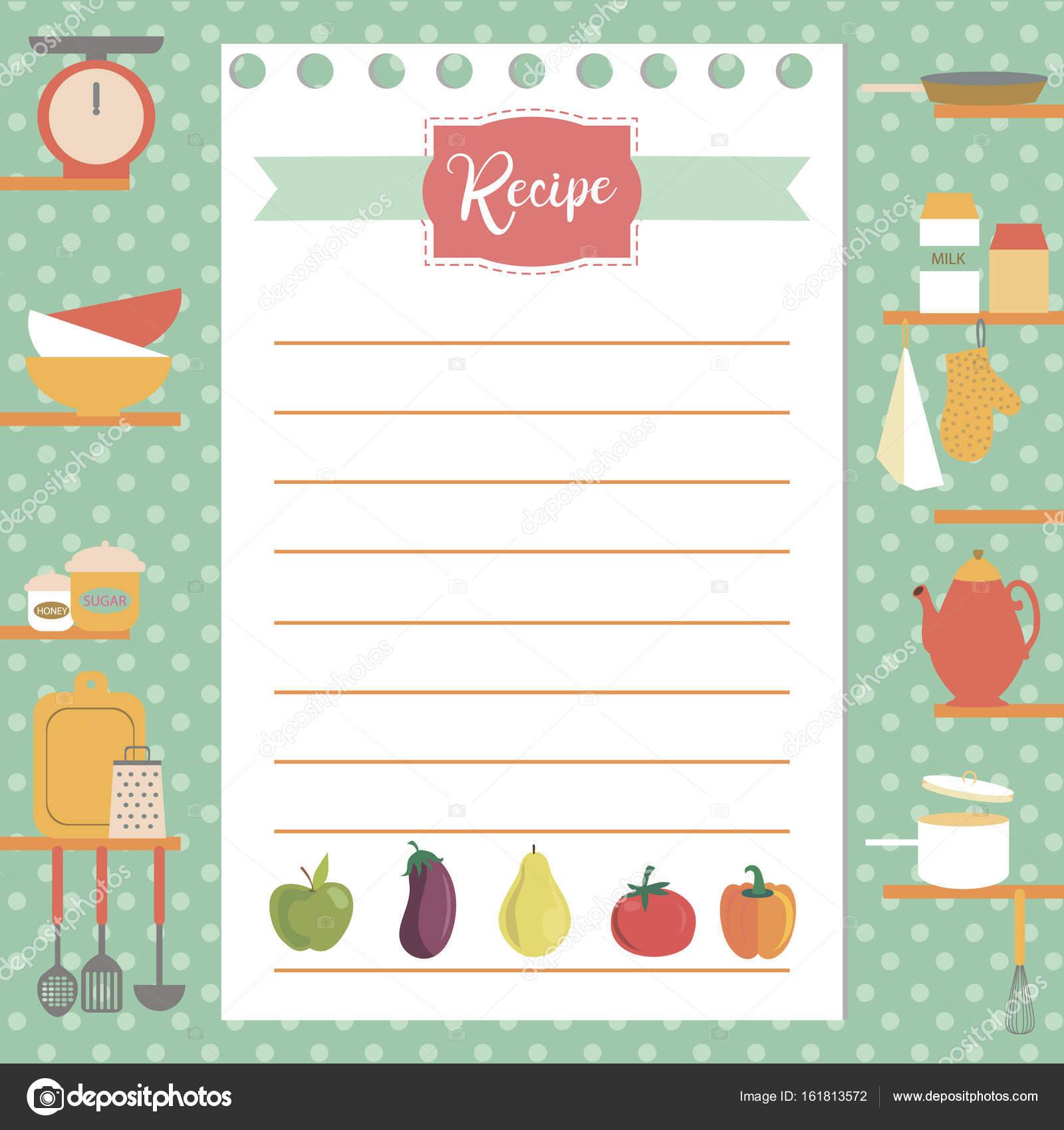 Rezept-Karte. Küche-Dusche-Karte — Stockvektor © Vissay #161813572