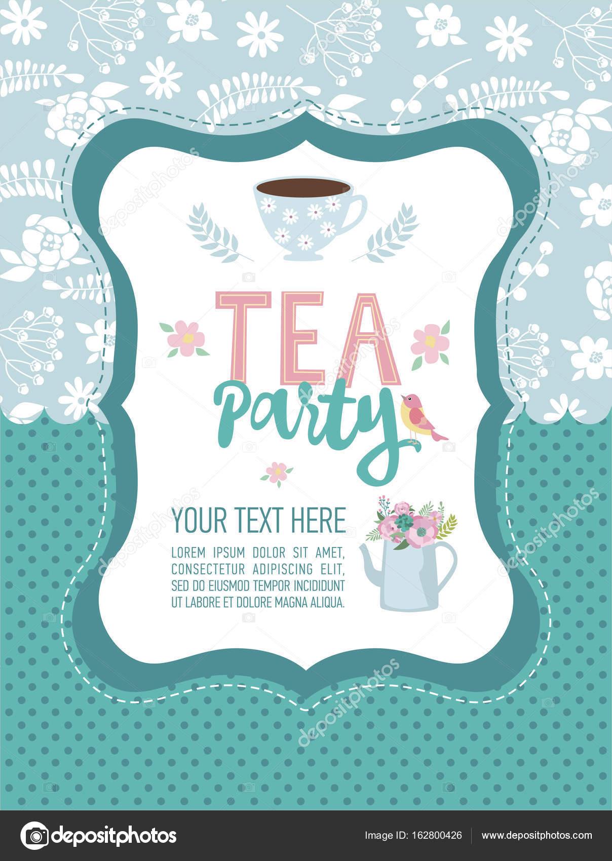 Tea Party Invitation Card Stock Vector C Vissay 162800426