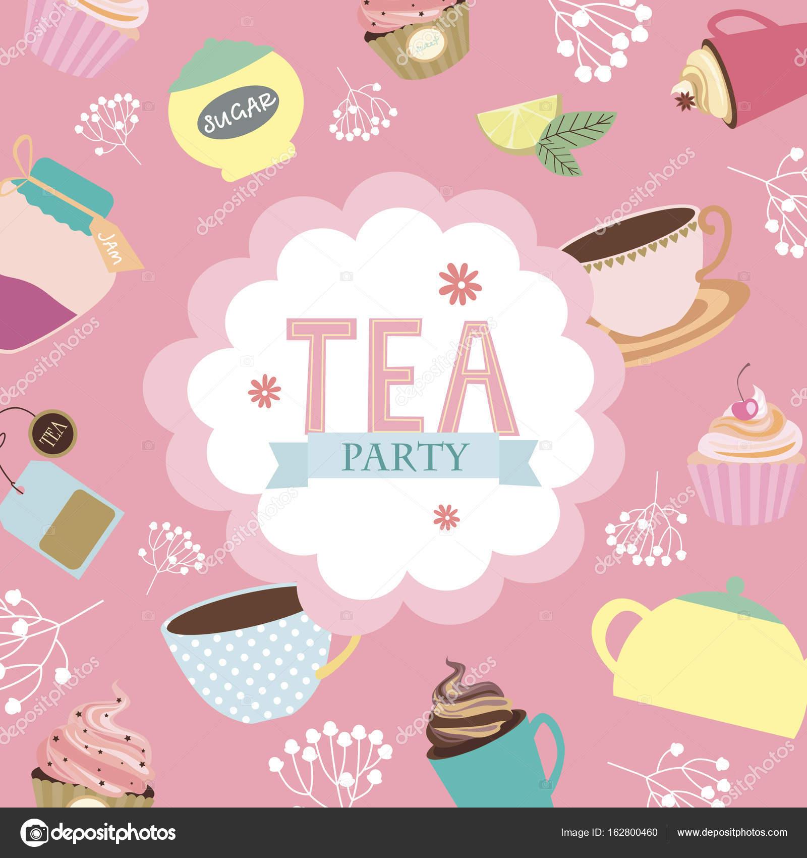 Tea Party Invitation Card Stock Vector C Vissay 162800460