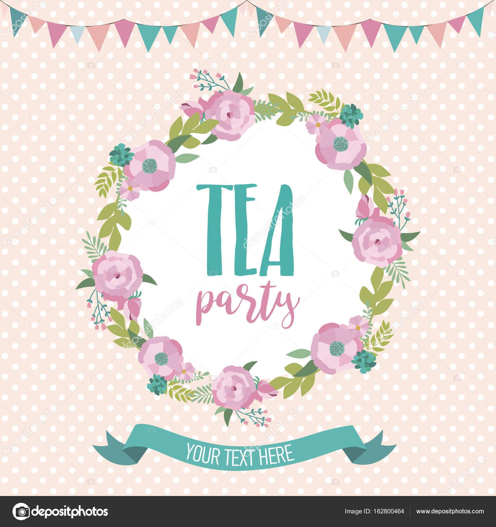 Tea Party Invitation Card Stock Vector C Vissay 162800464