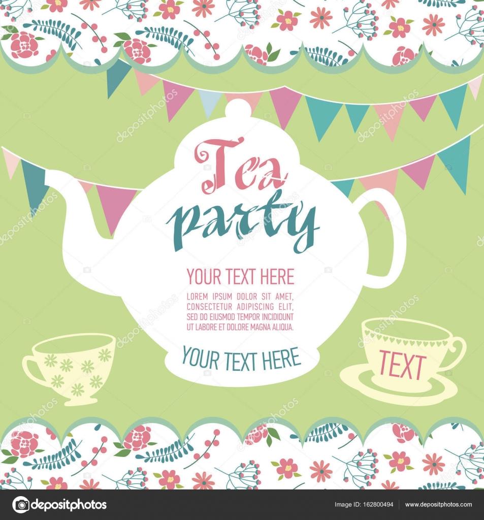 Tea Party Invitation Card Stock Vector C Vissay 162800494