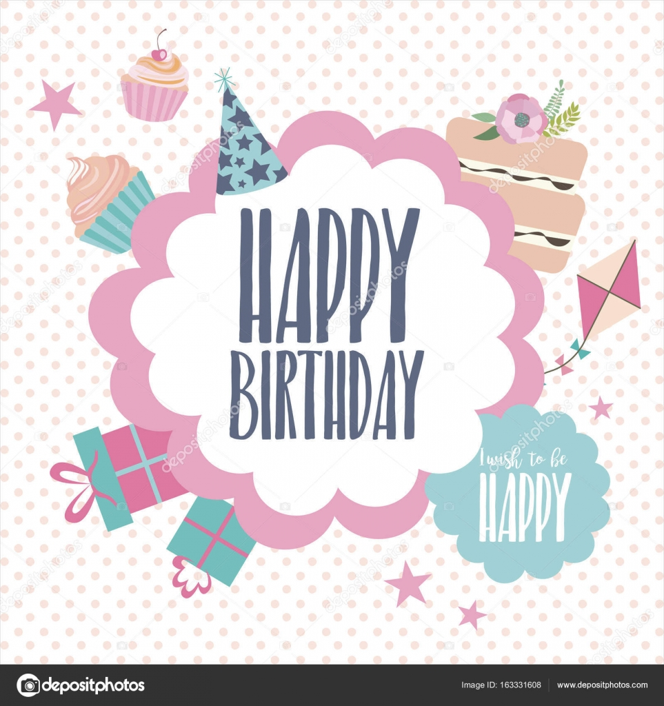 Lovely Cute Happy Birthday Card Template For Greeting Or Invitation. Vector  Illustration U2014 Vector By Vissay