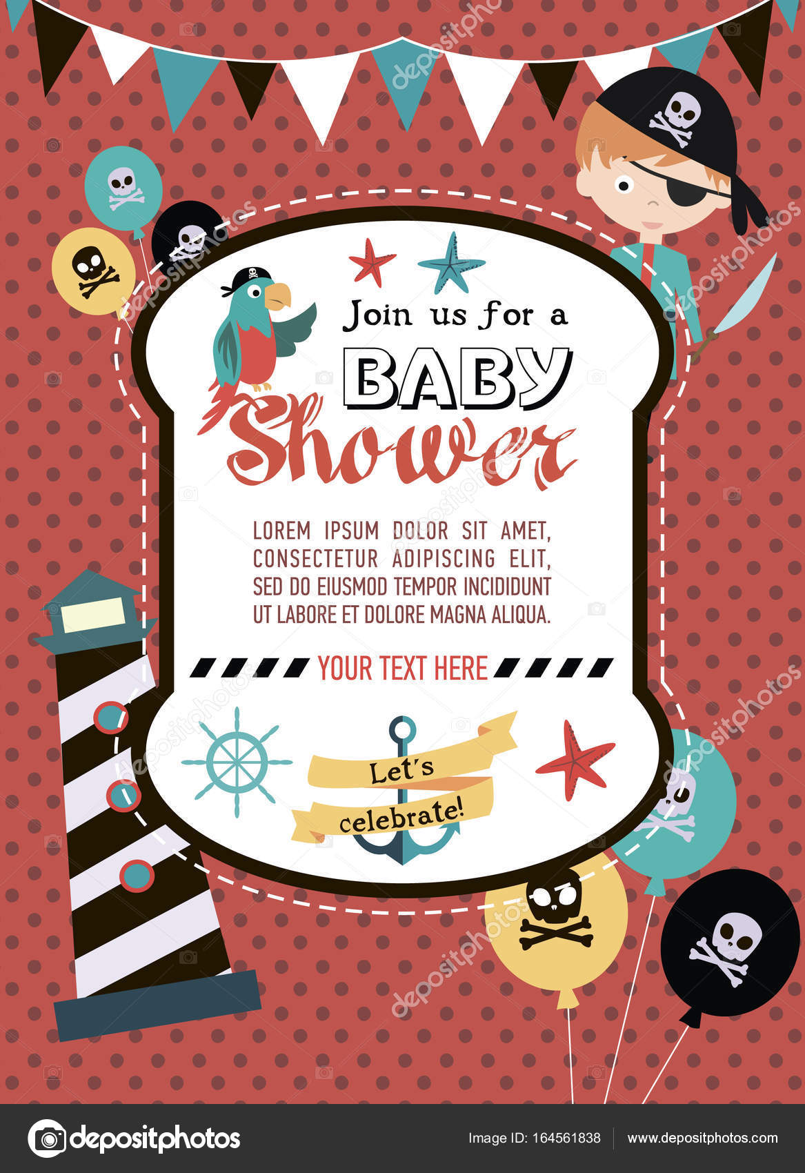 Baby Shower invitation card with pirate theme — Stock Vector ...
