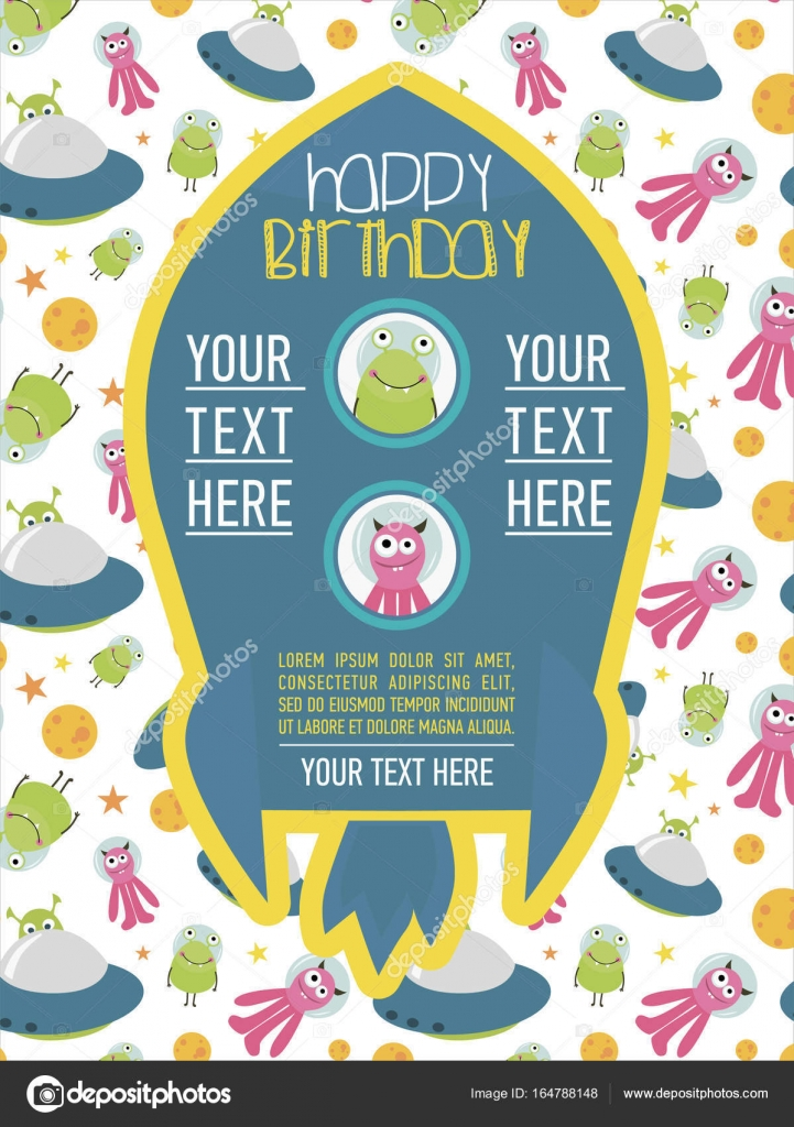 Happy Birthday invitation or greeting card for space party Stock