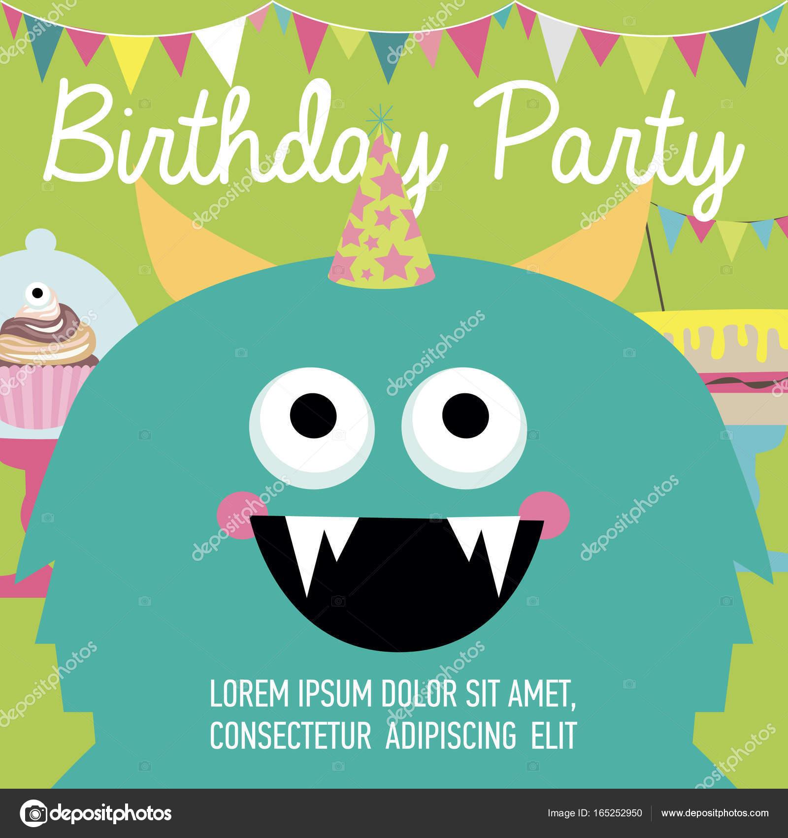 Monster birthday party invitation card vetor de stock vissay monster birthday party invitation card vetor de stock stopboris Gallery