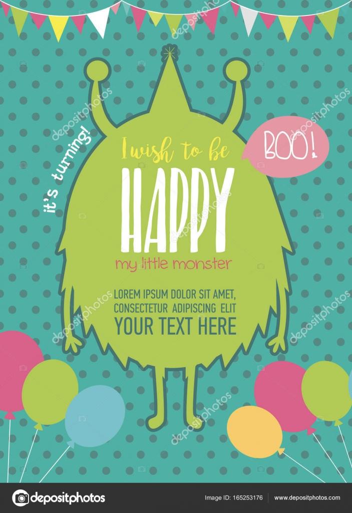 monster birthday party invitation card stock vector vissay