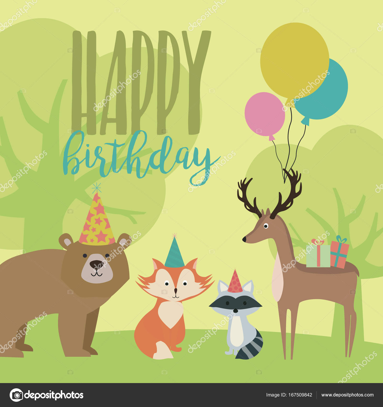 Happy birthday card with forest animals stock vector vissay happy birthday card with forest animals stock vector bookmarktalkfo Choice Image