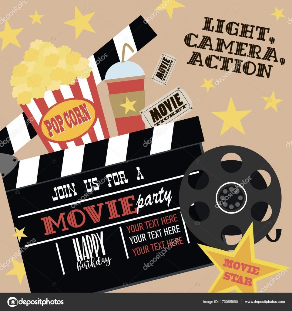 Birthday Party Invitation Card Movie Hollywood Cinema Poster Stock Illustration