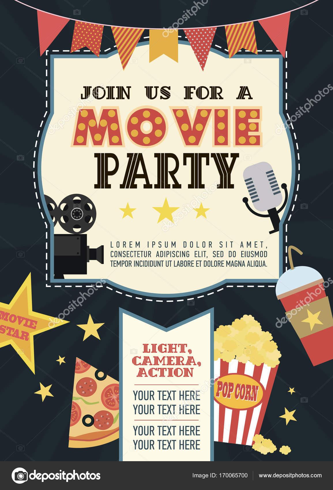 Birthday party invitation card, Movie party, Hollywood party. Cinema ...