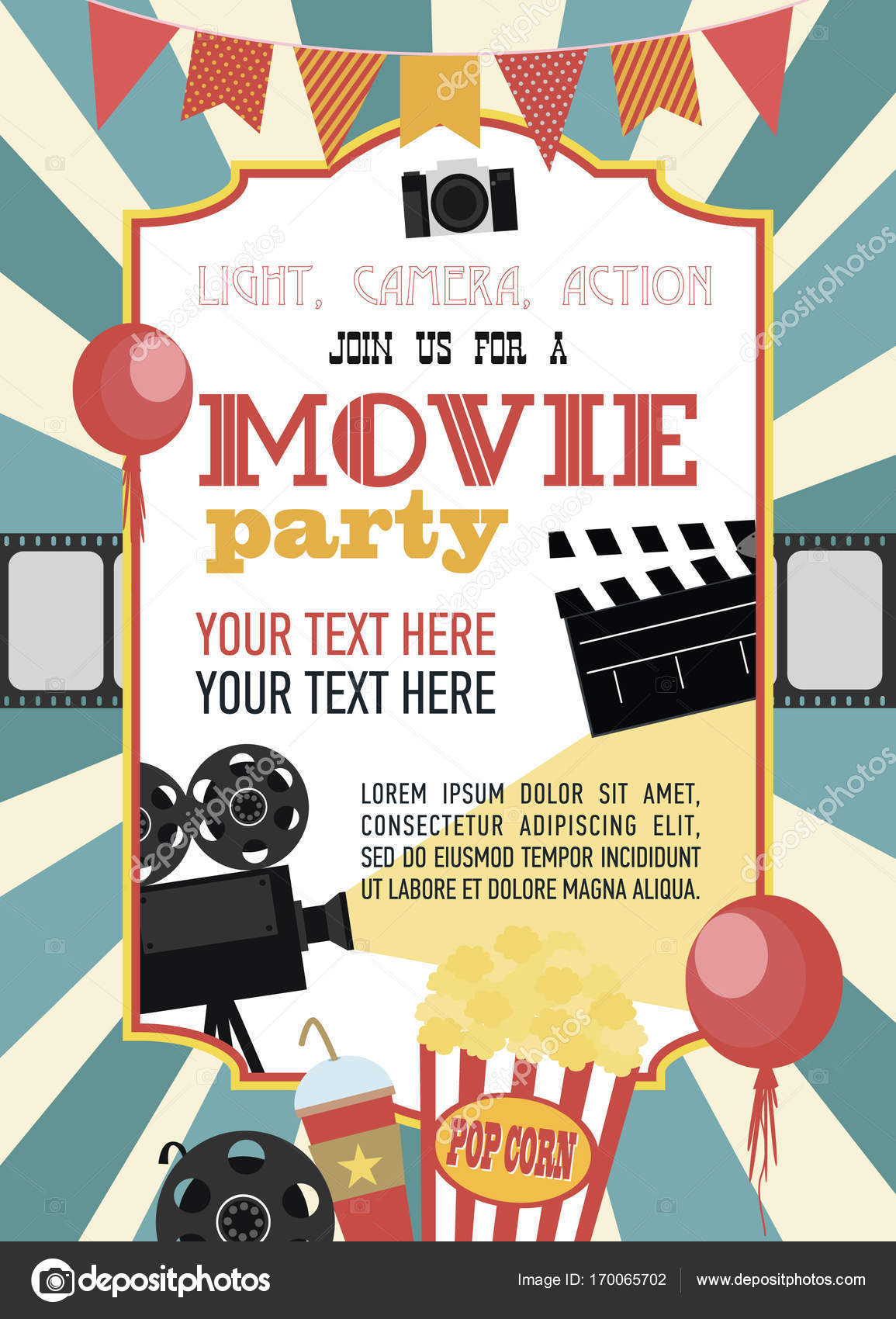 Birthday party invitation card, Movie party, Hollywood party. Cinema ...