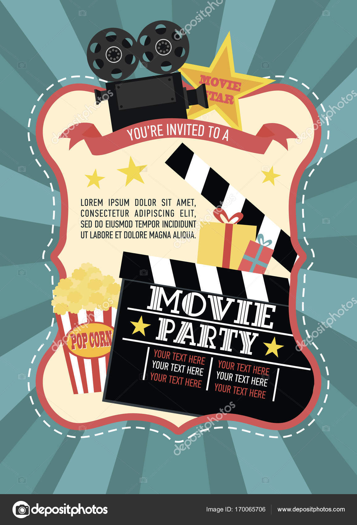 Birthday party invitation card movie party hollywood party cinema birthday party invitation for movie party hollywood party cinema poster vector illustration vector by vissay stopboris Image collections