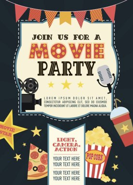 Birthday party invitation card, Movie party, Hollywood party. Cinema poster