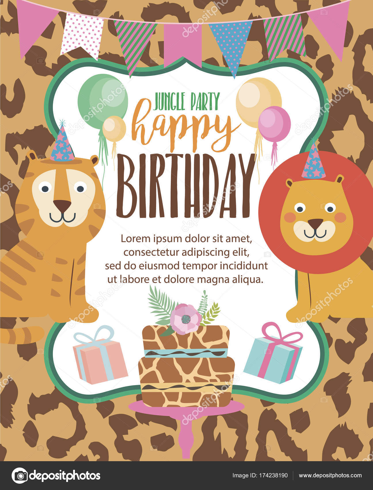 Happy Birthday invitation card for safari africa party — Stock ...