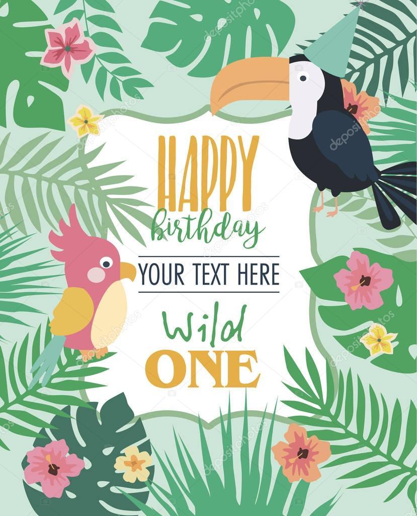Carte d'invitation anniversaire heureuse parti Afrique safari — Image vectorielle Vissay ...