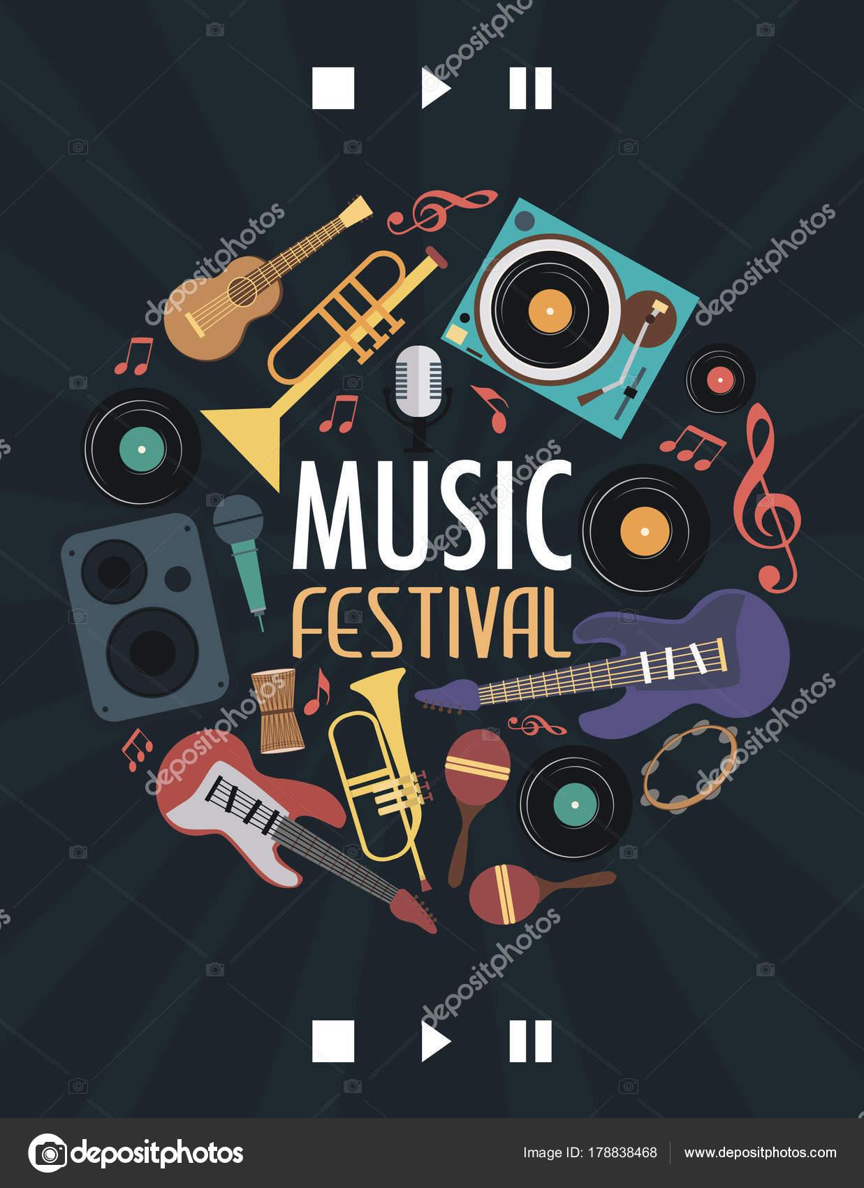 Music Festival Poster Musical Instruments Vector Illustration
