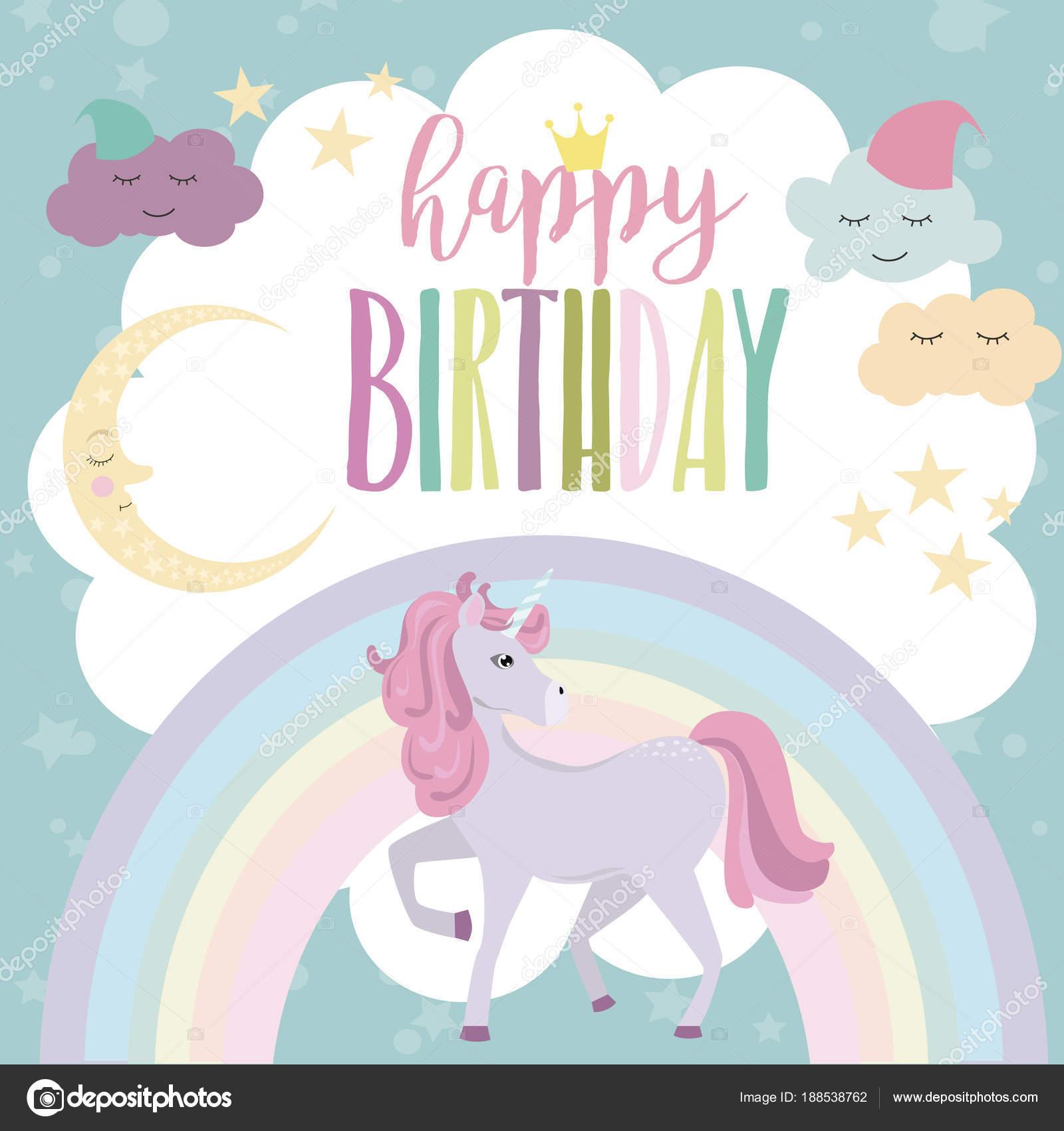 Magische Karte Mit Einhorn Und Regenbogen Geburtstag Einladung Oder