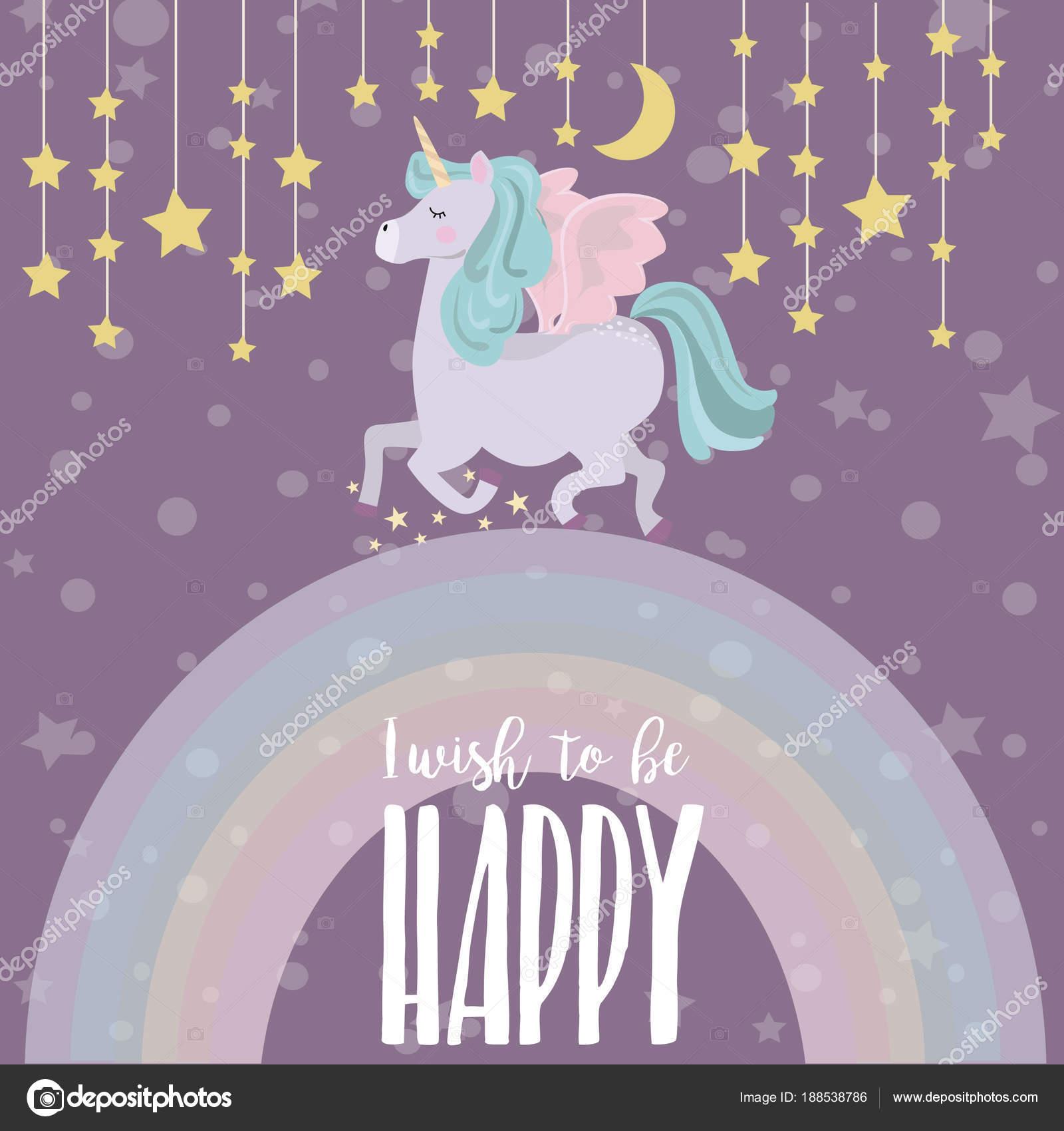 Magical Party Card Unicorn Rainbow Birthday Greeting Invitation