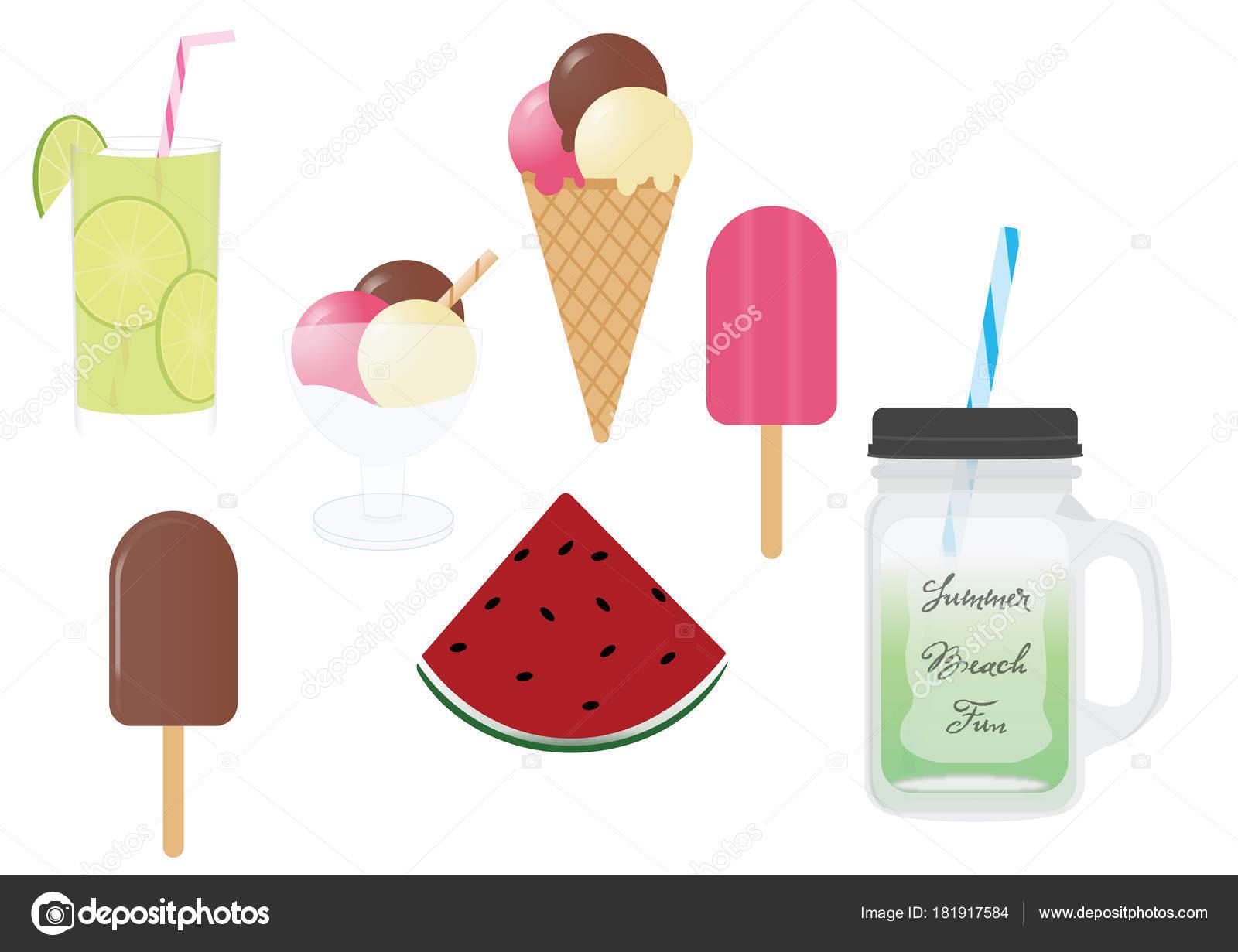 Sommer-essen und trinken Vektor-cliparts — Stockvektor © Sigdesign ...