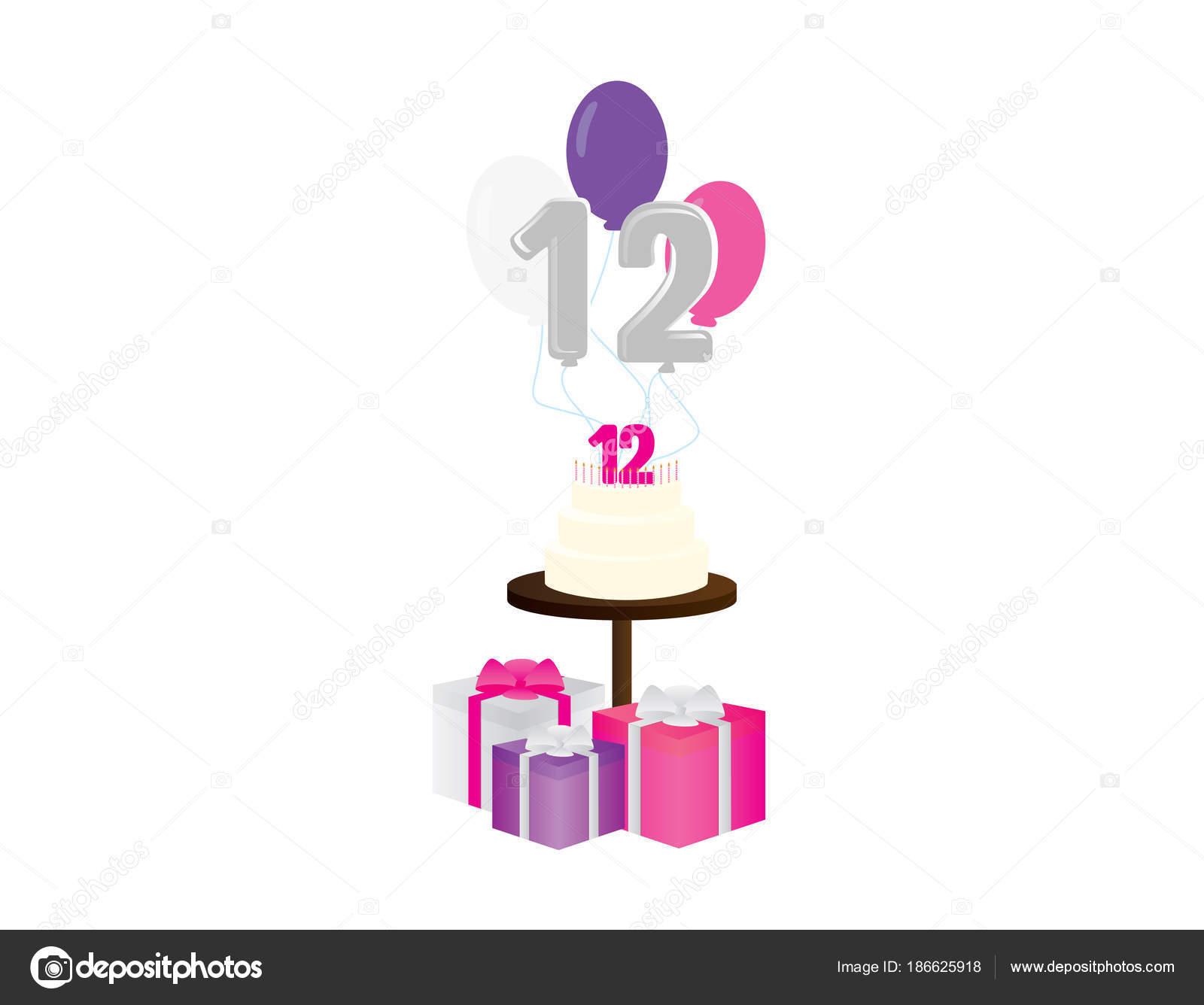Mädchen 12 Geburtstag Vektor Illustration Geburtstag Kuchen
