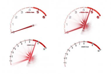 Group of Rpm gauge symbol in racing car.