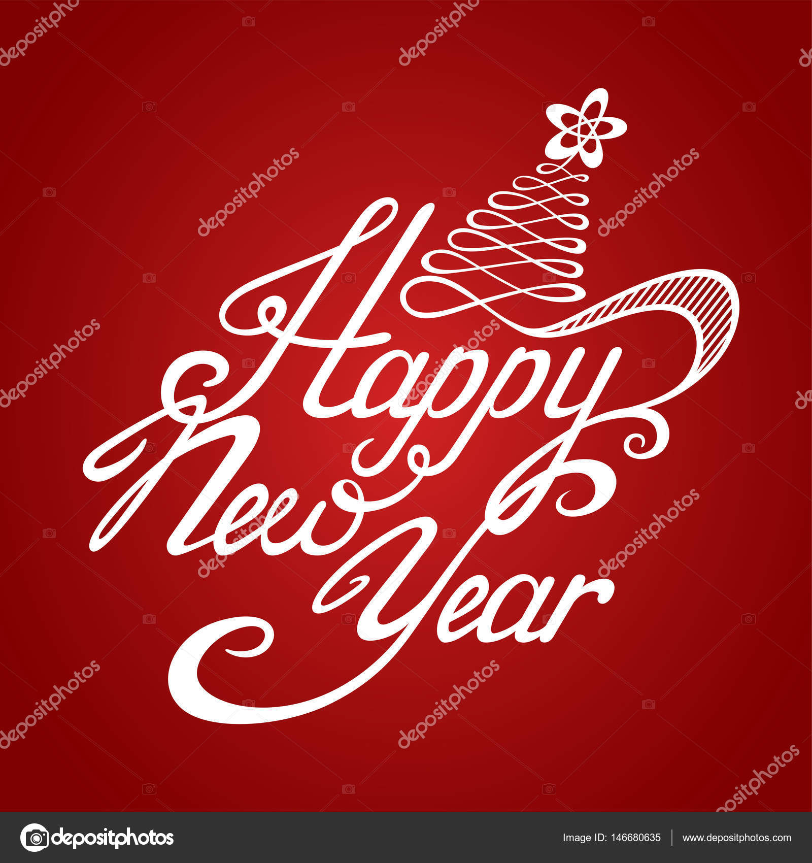 Happy New Year Greeting Card Stock Vector Hierarch 146680635