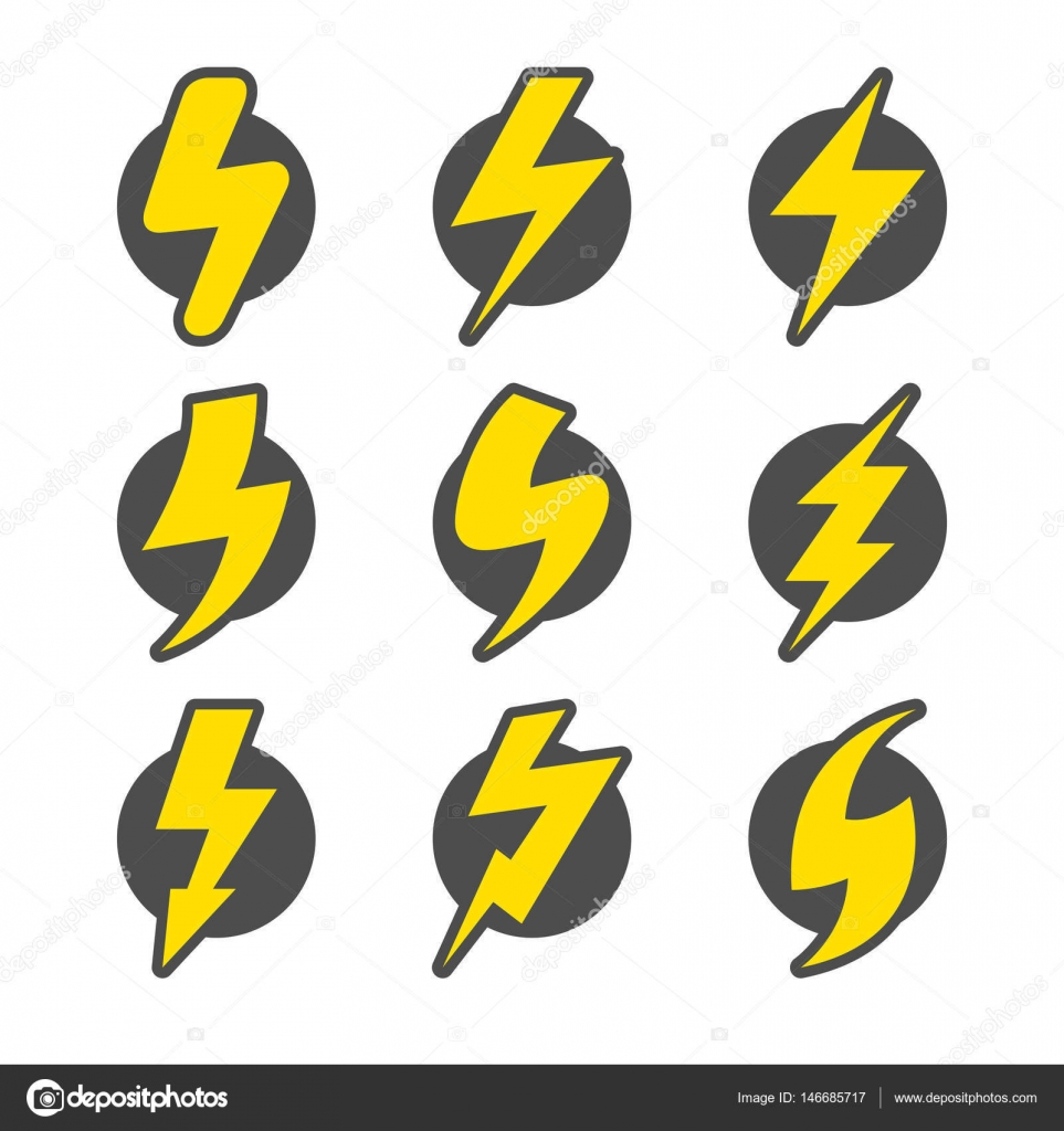 Set of lightning icons — Stock Vector © Hierarch #146685717