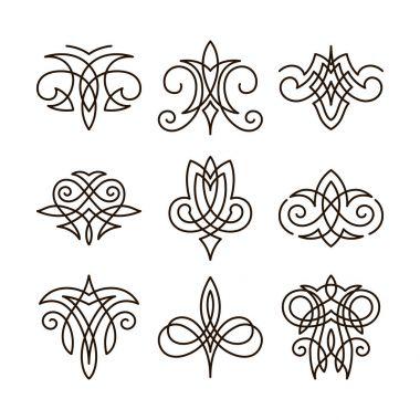 Set of different ornament elements