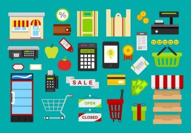 set of trading supermarket instruments icons