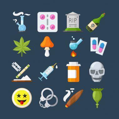 Illegal drugs flat icons set
