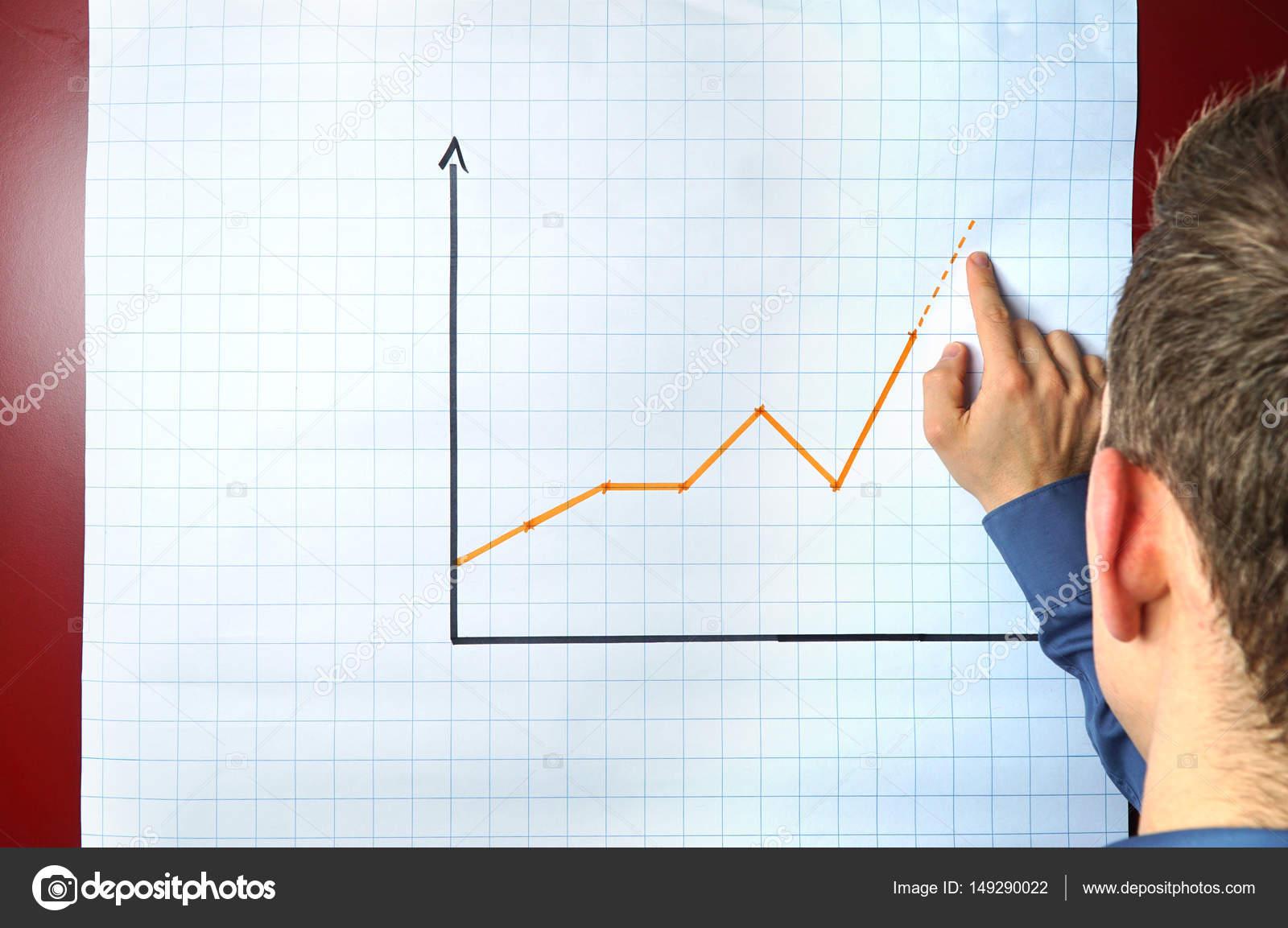 Geschäftsmann Punkte ein ein Diagramm auf einem Flipchart - Konzept ...