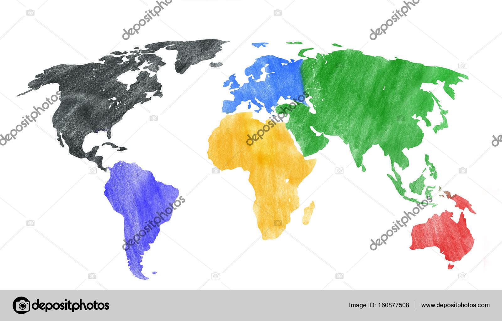 Hand drawn look of a world map with colored continents. — Stock ...