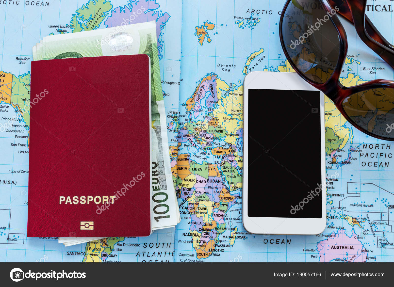 Travel passport on a world map euro banknotes sunglasses and travel passport on a world map euro banknotes sunglasses and mobile phone on the gumiabroncs Images