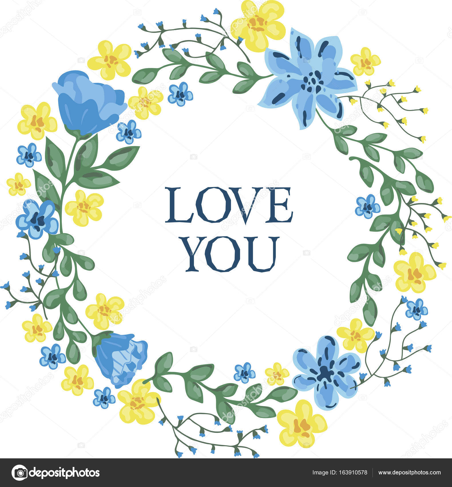 Illustration Of Floral Wreath With Blue And Yellow Flowers Stock