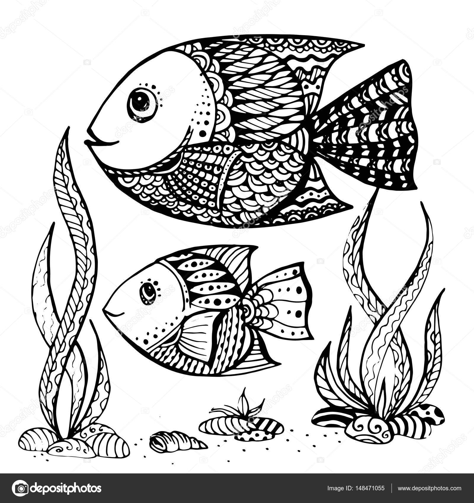 Adultos y patrón de pesca para colorear páginas para — Fotos de ...
