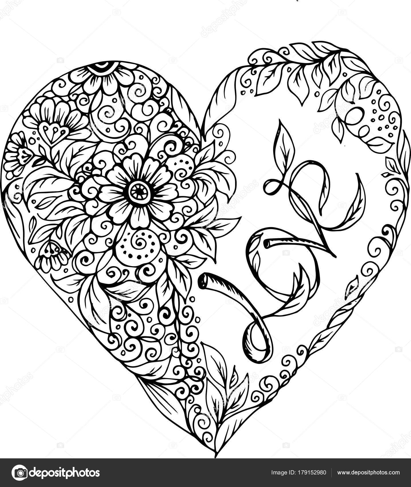 Doodle corazón con estampado de flores — Vector de stock © natka80 ...