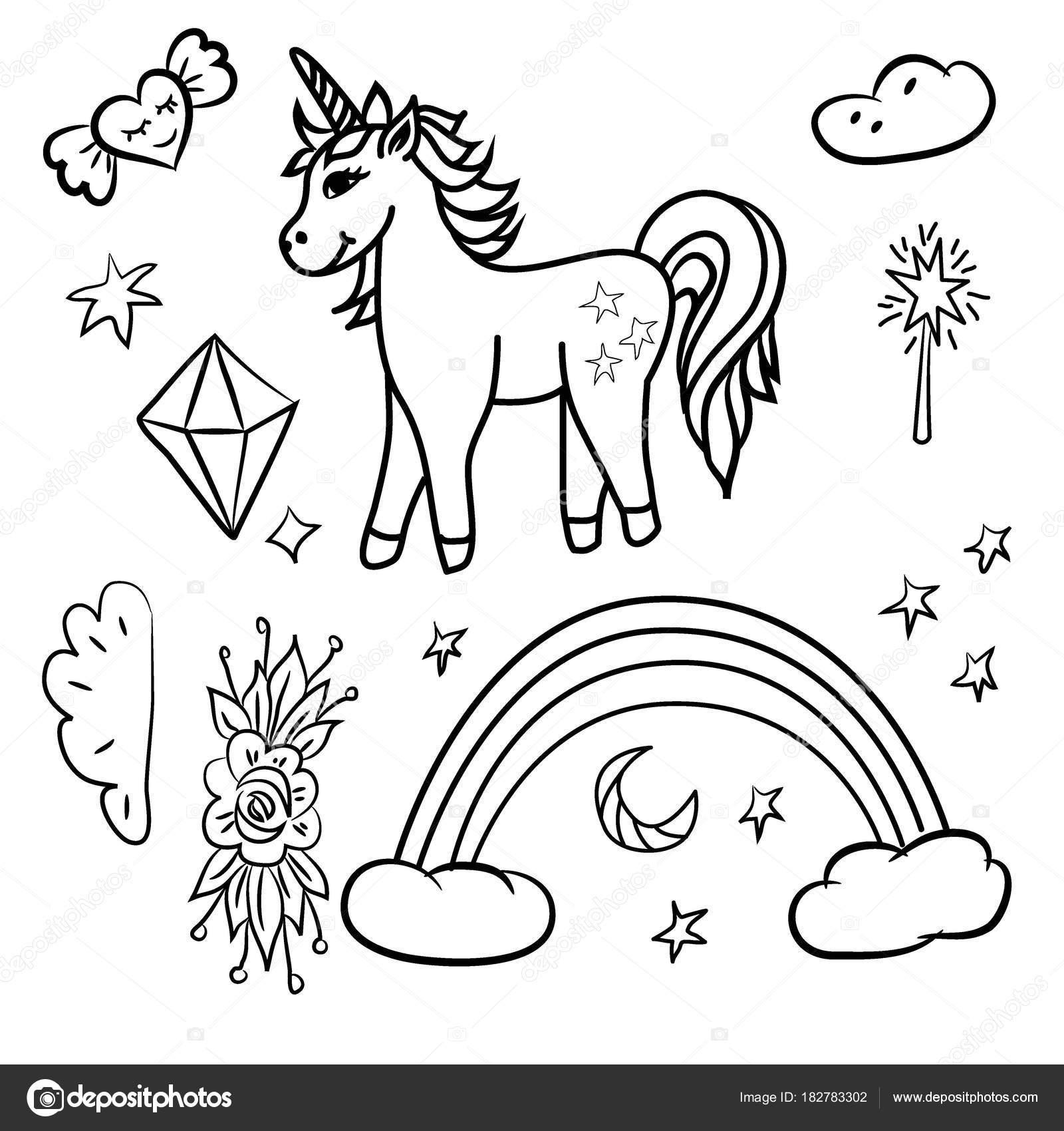 Doodle estrellas de unicornio arco iris, varita mágica — Vector de ...