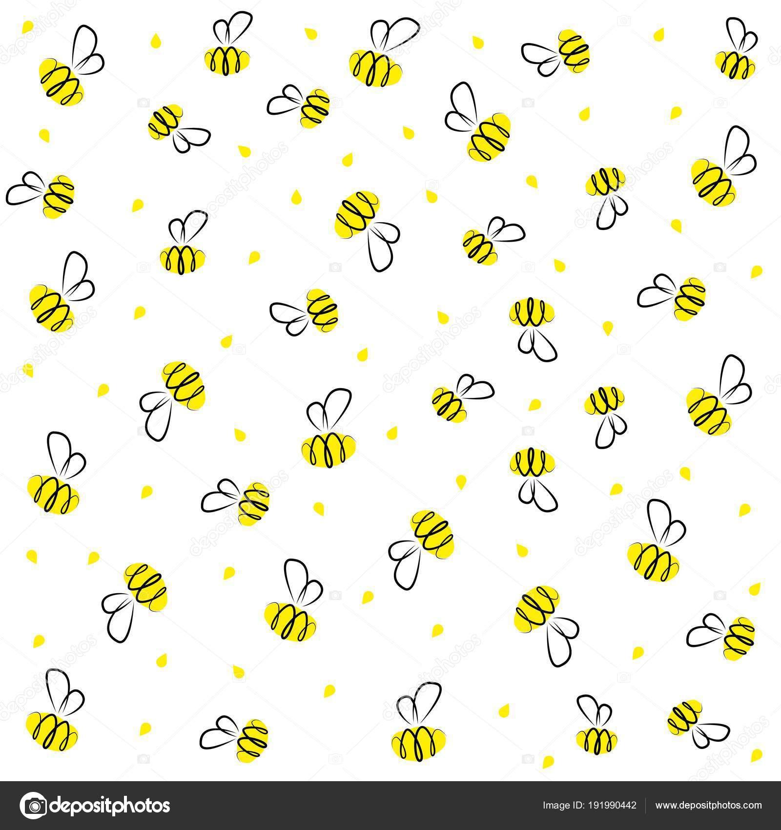 Doodle dibujos animados abeja amarillento y negro bebé — Vector de ...