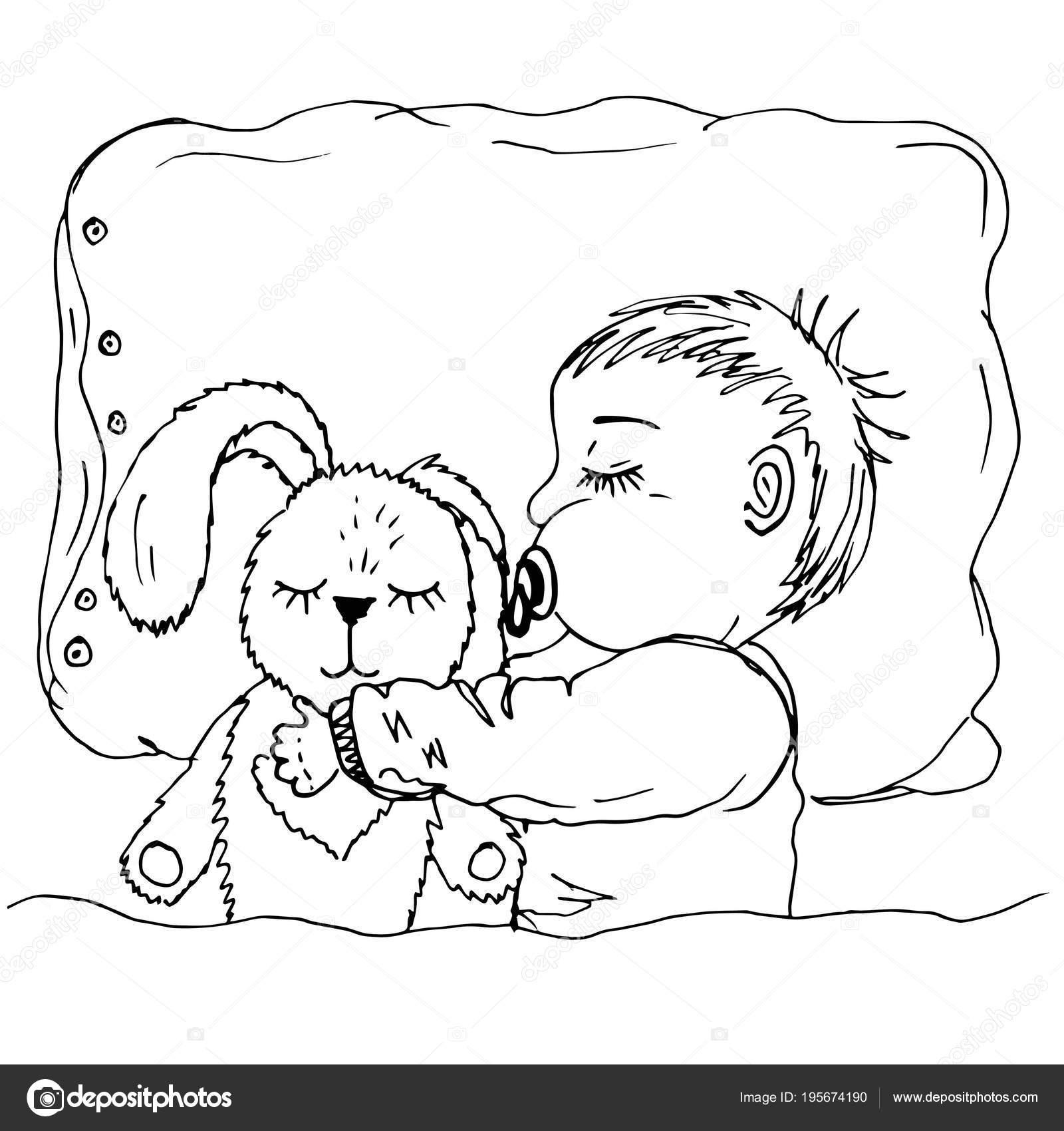 Niño Durmiendo En Su Cama Para Colorear Doodle De Bebé Durmiendo