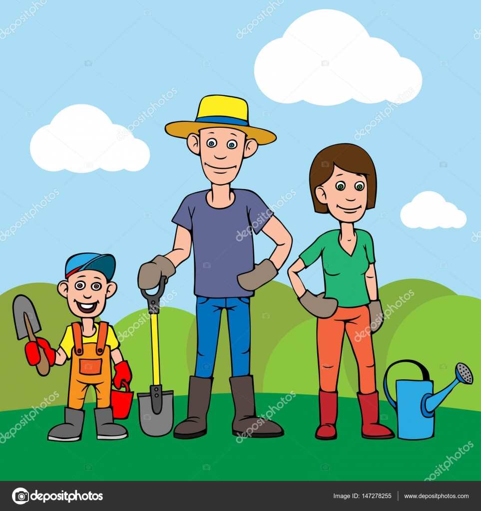Animado Niño Trabajando Caricatura Una Joven Familia Padre