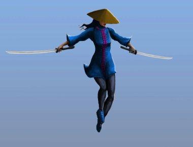 A samurai girl makes a jab